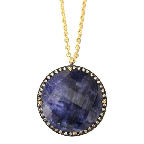 Liv Oliver Gold Saphire Round Disc Pendant Necklace