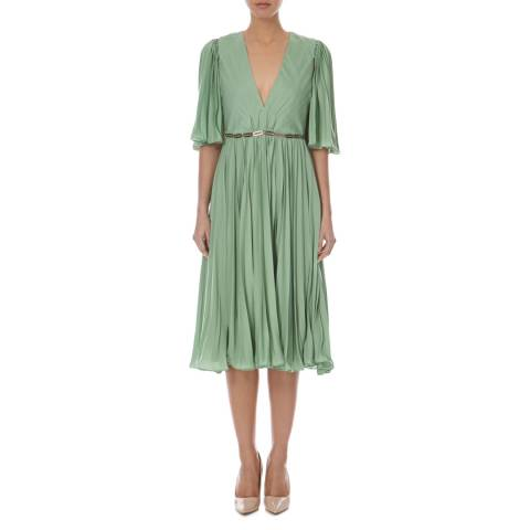 Halston Heritage Meadow Deep V Neck Pleated Dress
