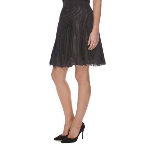 Halston Heritage Black Chiffon Strips Skirt
