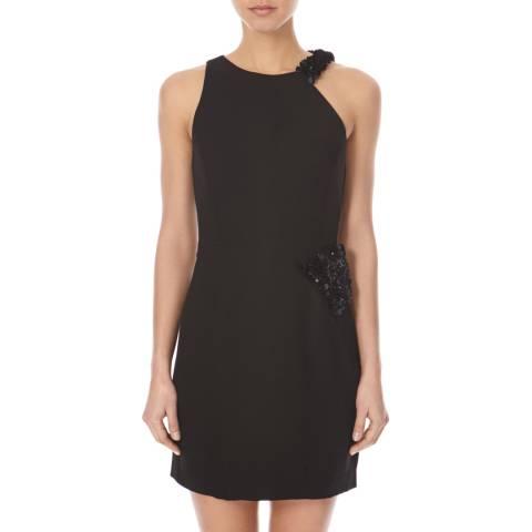Halston Heritage Black Ruffle Panel Asymmetric Dress