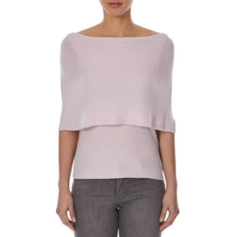 Halston Heritage Pink Cashmere and Wool Blend Poncho Top
