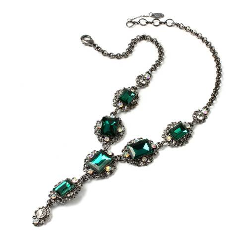 Amrita Singh Emerald/Gunmetal Katherine Necklace
