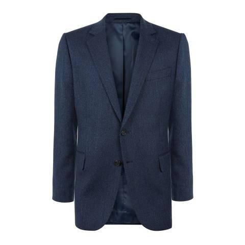 Jaeger Navy Melange Herringbone Wool Jacket