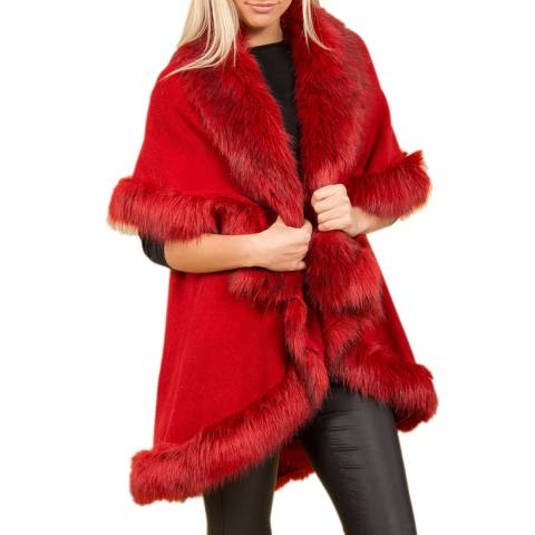JayLey Collection Red Faux Fur Cape