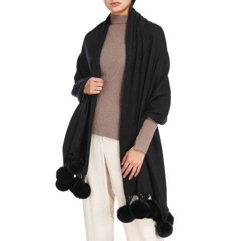 JayLey Collection Cashmere Blend Faux Fur Pom Pom Wrap Black