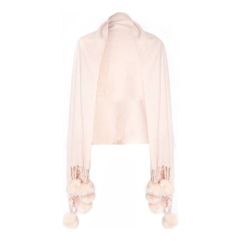 JayLey Collection Blush Pink Cashmere Blend Faux Fur Pom Pom Wrap