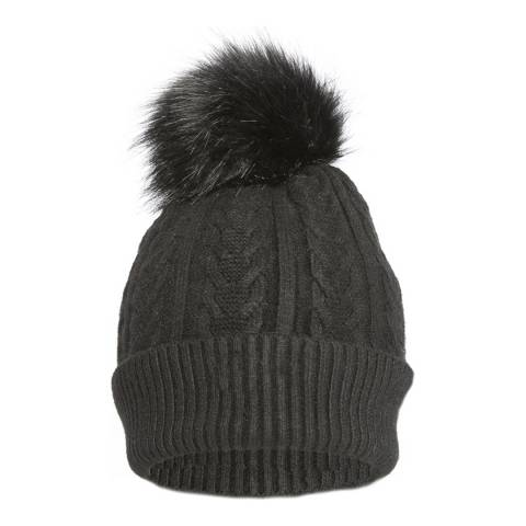 JayLey Collection Black Faux Fur Pompom Cashmere Blend Hat