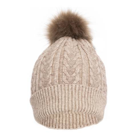 JayLey Collection Faux Fur Pompom Cashmere Blend Hat Mocha