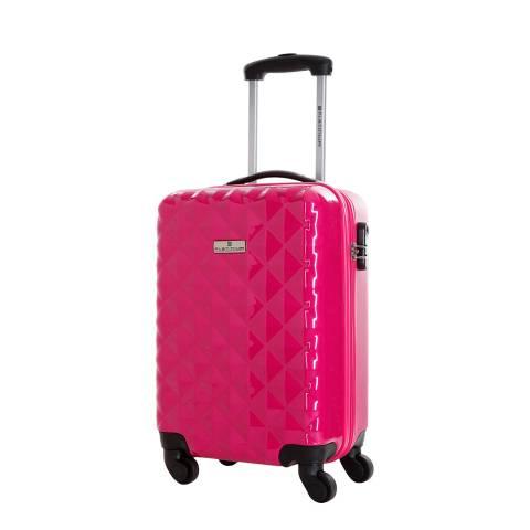Platinium Pink Sowtude Spinner Cabin Suitcase 46cm