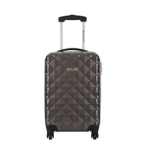 Platinium Grey Sowtude Spinner Cabin Suitcase 46cm