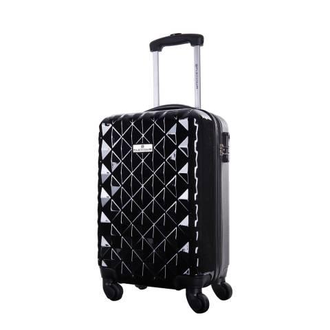 Platinium Black Sowtude Spinner Cabin Suitcase 46cm