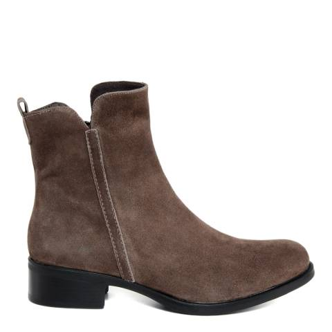 Paola Ferri Taupe Suede Cut Out Chelsea Boots