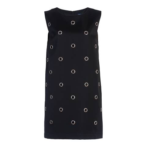 French Connection Black Midnight Satin Eyelet Tunic Dress