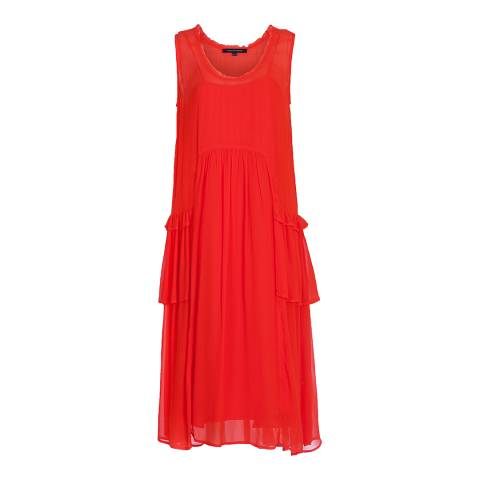 French Connection Red Rosie Drape Ruffle Dress