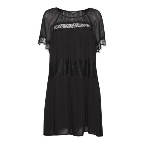 French Connection Black Rosie Drape Babydoll Dress