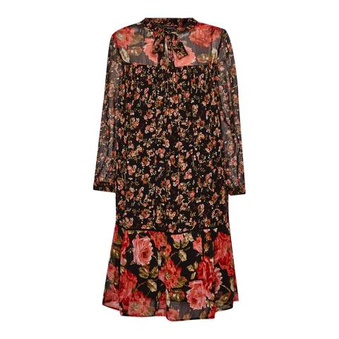 French Connection Black Anastasia Floral Relaxed Tea Dress