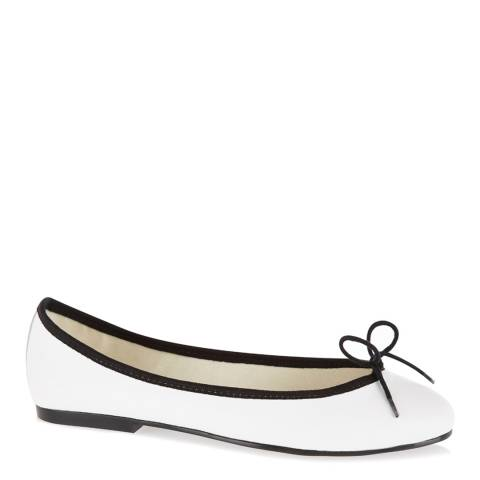 French Sole White Leather India Ballet Flats