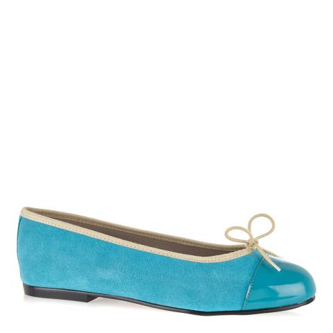 French Sole Turquoise Nubuck Simple Ballet Flats