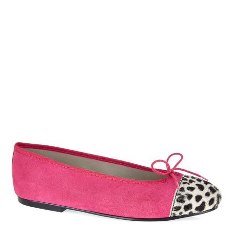 French Sole Pink Suede Leopard Toe Cap Simple Ballet Flats