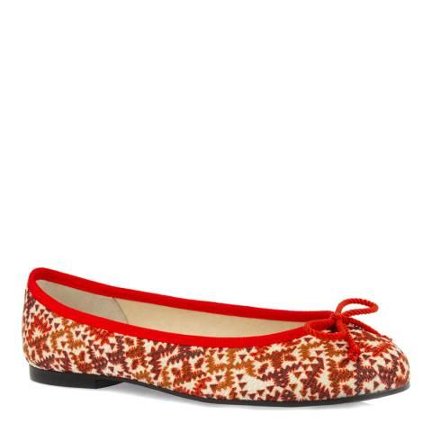 French Sole Red Aztec Textile Henrietta Ballet Flats