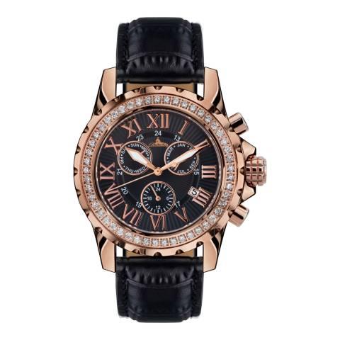 Richtenburg Women's Black/Rose Gold Leather Romantica Watch