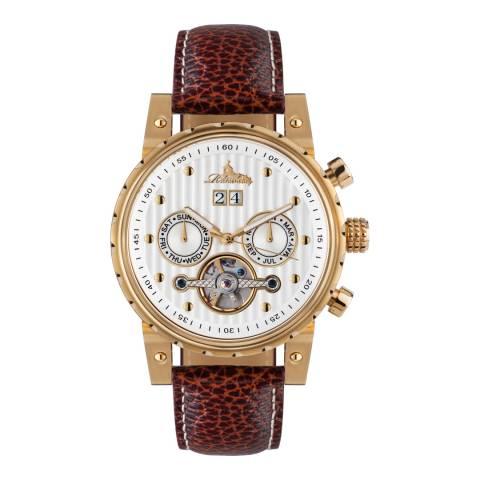 Richtenburg Men's Brown/Gold Stainless Steel/Leather Newport Watch