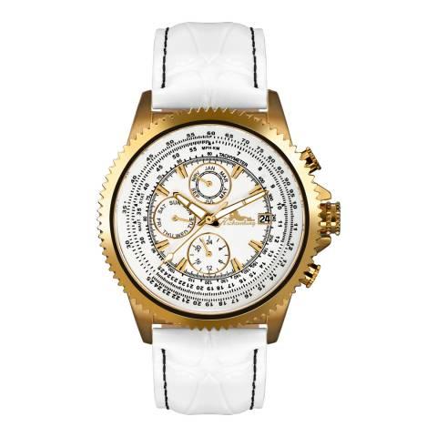 Richtenburg Men's White/Gold Stainless Steel/Leather Panama Watch