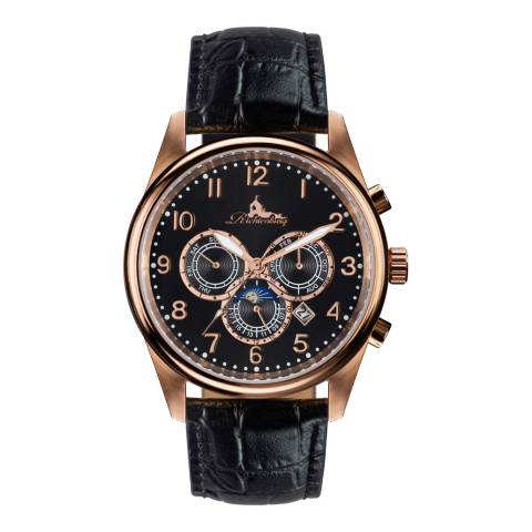 Richtenburg Men's Black/Rose Gold Stainless Steel/Leather Athen Watch