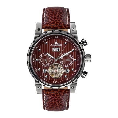 Richtenburg Men's Brown/Silver Stainless Steel/Leather Newport Watch