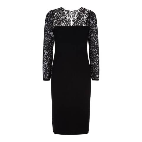Jaeger Black Lace Panelled Knitted Dress