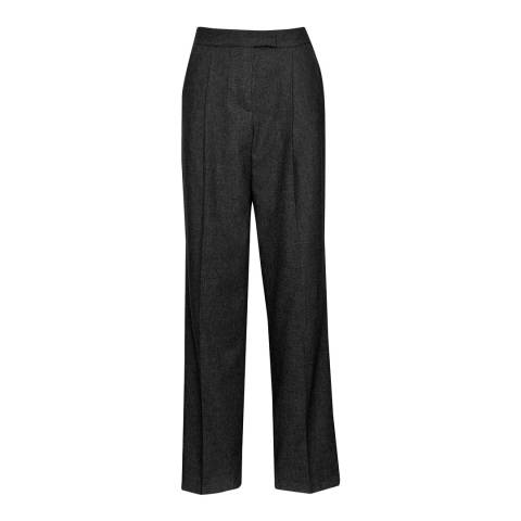 Great Plains Black Wool Blend Flannel Tailored Trousers