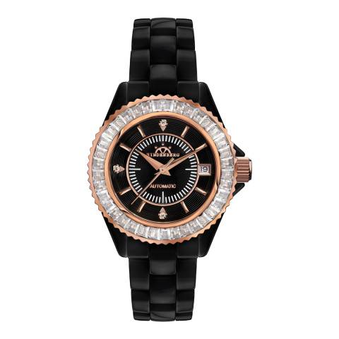 Hindenberg Women's Black/Rose Gold Ceramic Galaxy Watch