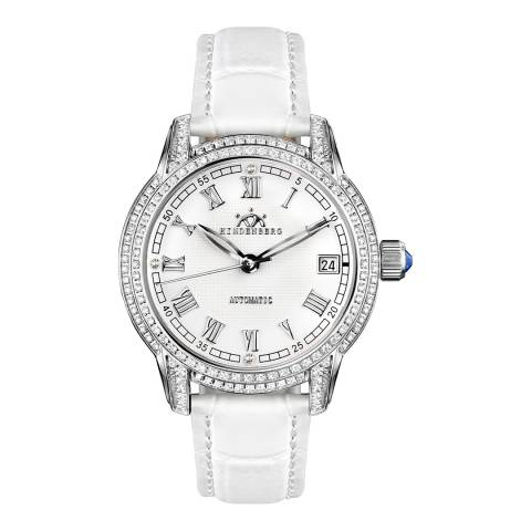 Hindenberg Women's White Leather Duchess Crystal Watch