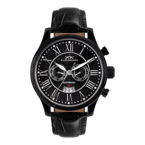 Hindenberg Men's Black Leather Open Date Watch