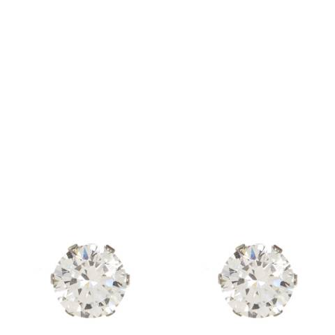 Black Label by Liv Oliver Clear Round Stud Earrings