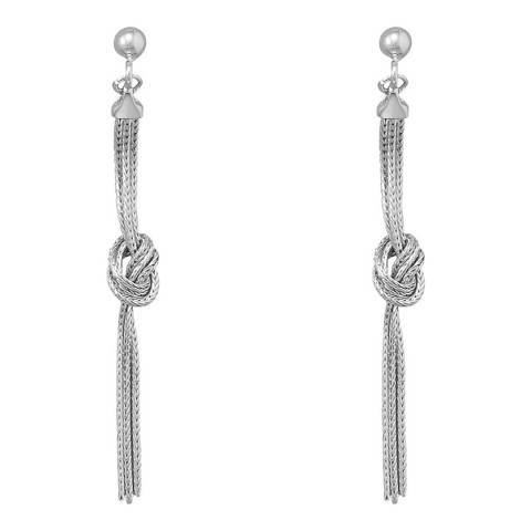Chloe Collection by Liv Oliver Silver Long Multi Chain Knot Earrings