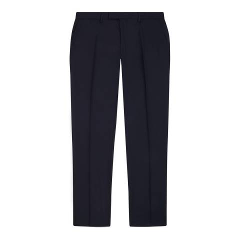 Jaeger Navy Wool Classic Plain Twill Suit Trousers