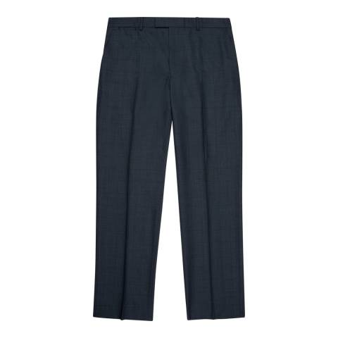 Jaeger Blue Wool Classic Sharkskin Suit Trousers