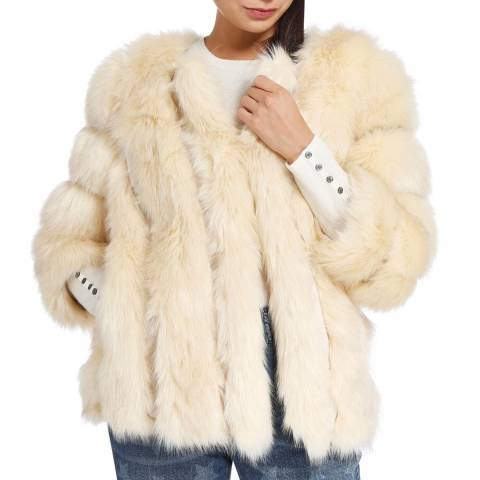 JayLey Collection Cream Luxury Faux Fur Silk Blend Coat