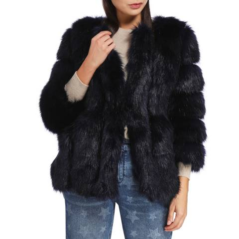 JayLey Collection Navy Luxury Faux Fur Coat