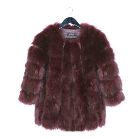 JayLey Collection Wine Luxury Faux Fur Coat