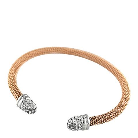 Black Label by Liv Oliver Rose Gold And Crystal Cuff Bangle