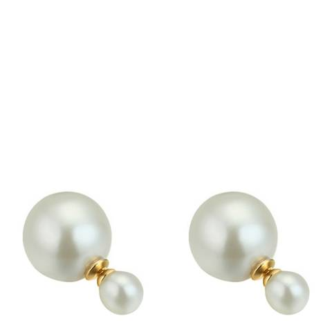 Liv Oliver White/Gold Double Pearl Earrings