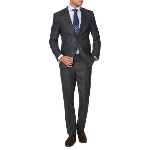 Hackett London Grey Wool Prince Of Wales Check Suit