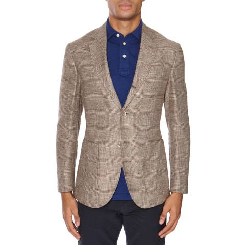 Hackett London Brown Glen Check Jacket