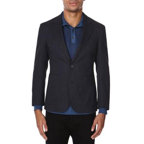 Hackett London Blue Check Cotton Herringbone Jacket