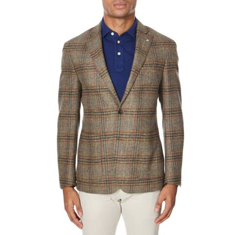 Hackett London Green Plaid Wool Jacket