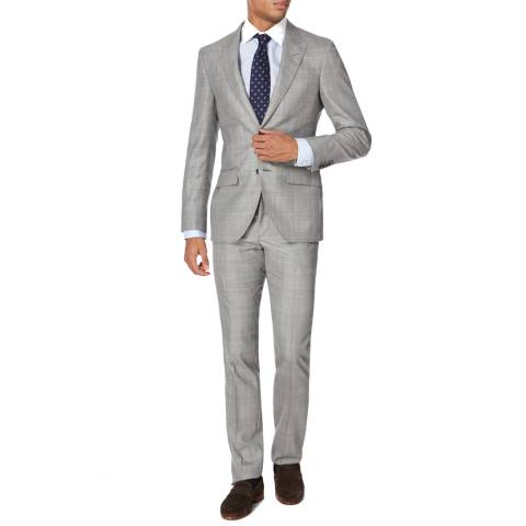 Hackett London Grey Blue Wool Check Suit