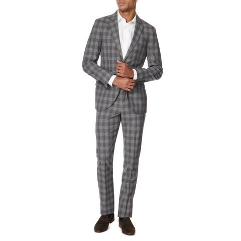 Hackett London Grey Wool Wool Check Suit