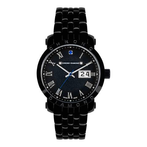 Chrono Diamond Men's Black Stainless Steel Nestorius Watch
